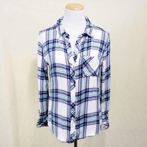 Rails Hunter plaid button down shirt aqua navy MD